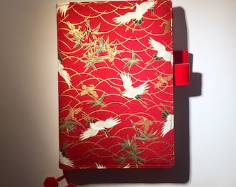 Best Sellers!!! Crane ** Handmade Hobonichi Techo/Cousin Cover// Hobonichi A5/A6 Planner Cover  //Leuchtturm A5 Cover