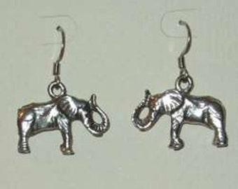 Elephant Earrings - pewter charm