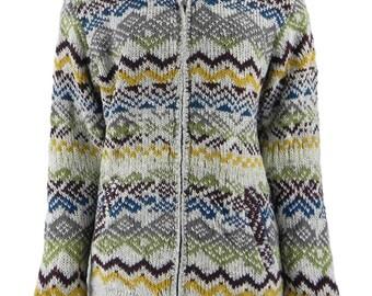 Nepalese Fleece Lined Wool Jacket with Hood, Multicoloured Pattern | UK 10-14 | Hippy Jacket | Festival Jacket | FX685 No.03 | POS: C1/5 |