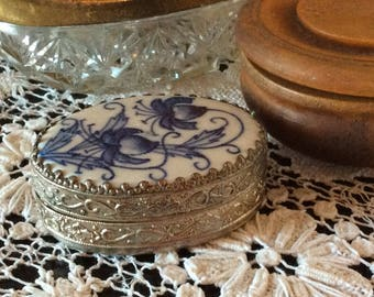 Vintage silver repousse and ceramic powder box jewelry storage trinket compact box