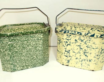 Vintage French Lunch Pail.  Kitchen Storage Pot Enamel, Graniteware. Choice of two.  Green and Yellow or Yellow and Dark Greeny Blue