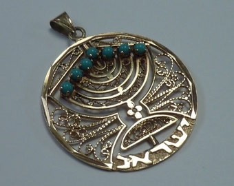 "14K Yellow Gold ""Menorah"" Spinner Pendant w/Turquoise and Synthetic Ruby, 5.4 grams"