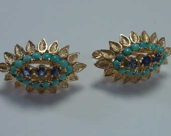18K Yellow Gold Turquoise and Sapphire Earrings, 5.6 grams
