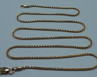 14K Yellow Gold 18 inch, 1 mm wide Wheat Link Chain/Necklace