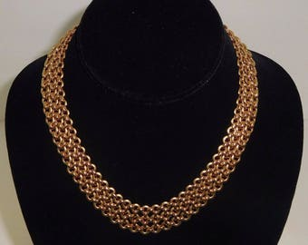 18k yellow gold Cartier Penelope Double C Five Row Wide Link Gold Necklace