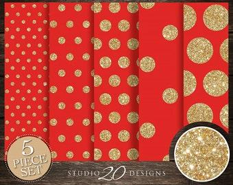 50% OFF! Instant Download Red Gold Digital Paper, 12x12 Printable Gold Glitter Digital Paper, Bright Red Gold Dot Digital Background 20DPK
