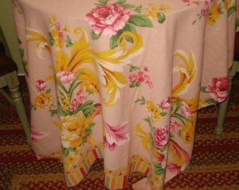 "Unparalleled Shabby Chic From the 1930's: Fabulous Vintage 84"" x 76"" RAGINGLY BEAUTIFUL Tablecloth"