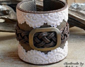 Boho bracelet Rustic cuff Boho jewelry Boho cuff Rustic bracelet Wide bracelet Country bracelet Beige bracelet Brown bracelet Lace .smn