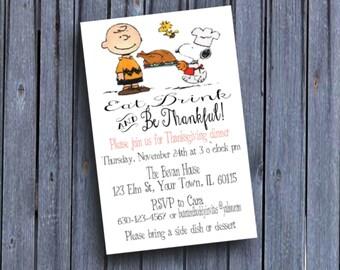Snoopy Thanksgiving Dinner Invitation, Peanuts Thanksgiving Invite, Charlie Brown, Printable Digital Downloadable, Custom