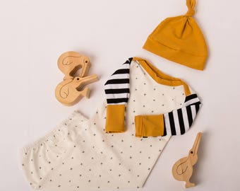 Stripe X&T Newborn Layette Gown