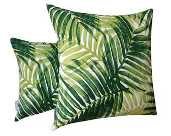 Palm Fronds Cushion Cover, Tropical Cushion, Decorative Cushion Cover, Green Leaf Cushion, Palm Leaves Cushion, Outdoor Cushion
