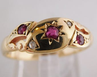 Victorian Gypsy ring with natural ruby and diamonds in yellow gold