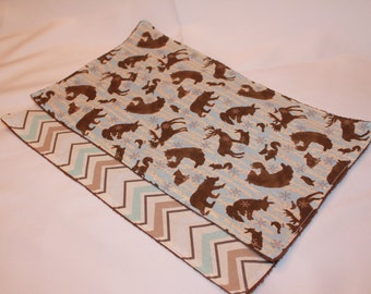 Two Baby Burp Cloths-Burp Cloth Patterns-Modern Burp Cloth-Burp Rag-Winter-Animals