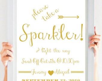 Gold Wedding Decor Sparkler Sign | All Sizes 4x6, 5X7, 8x10, 11x14, 16x20, 18x24 , 24x36 inches, PDF Poster Size AO, A1, A2, A3 CWS307_2911C