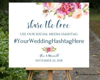 Hashtag Sign | Share The Love | Peonies Wedding Decor | Bohemian Wedding Decor | Navy Wedding Calligraphy | Digital File SKU# IDWS503_3619C
