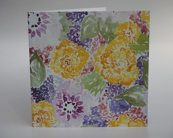 Greeting card floral lilac yellow