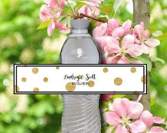 Wedding Reception Water Bottle Labels - Personalized Editable DIY Adobe Reader - Black and Gold Glitter Water Bottle Labels - 0001-GL