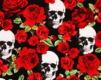 Skulls and Red Roses printed Fabric by Timeless Treasures Fabrics by the Half Yard