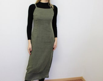 Maxi Jumper Dress Khaki Sleeveless Dress   Long Green Sarafan Overalls Dress Vintage  Medium