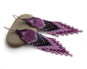 Purple earrings for women Seed bead earrings Long beaded earrings Bead fringe earrings Bohemian jewelry Boho jewellery Beadwork Handmade