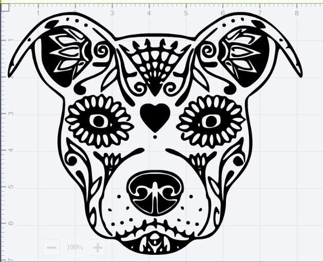 pitbull sugar skull svg eps dxf studio3 cut files from timestormsvg on etsy studio