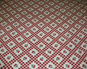 Gorgeous Vintage Red and White Checkered Cherry Tablecloth 47 X 70