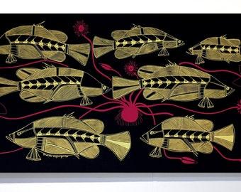 Fabric Art Panel - Fish Design by Isaiah Nagurrgurrba