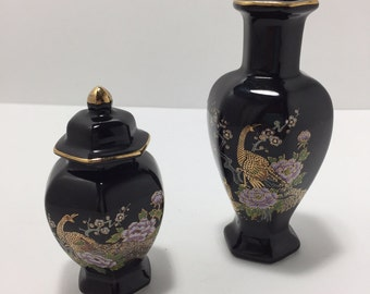 Vintage Black Ceramic Urn and Vase Oriental Style