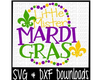 Mardi Gras SVG * Little Mister  Mardi Gras * Mardi Gras * Beads Cut File - SVG & DXF Files - Silhouette Cameo, Cricut