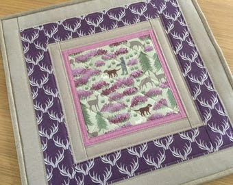 Square Table Topper, quilted table topper, patchwork table topper, purple table topper, mug rug, quilted table mat, table centrepiece