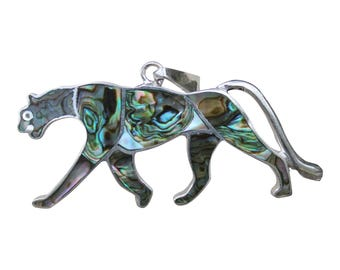 Puma Pendant -Abalone Silver - Silver Peru Jewelry - Peruvian Mountain Cat - Cougar Pendant - Silver Puma Pendant - Peruvian Jewelry