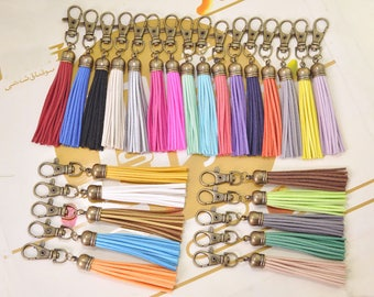 Large fringe tassel keychain,Bronze Caps Large tassel keychain,faux leather keychain for bag,Suede tassel keychain clasp,26 Color