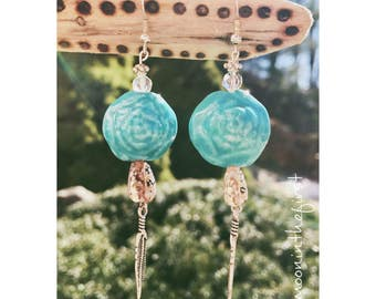 Ceramic Teal Rose & Feather Earrings