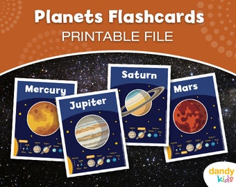 Planets Flashcards / Printable Flashcards / Set of 10 / Educational Flashcards
