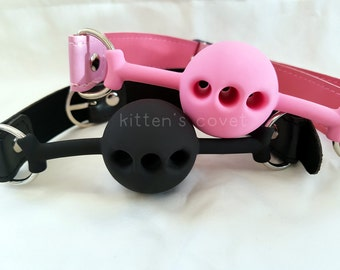 Breathable Ball Gag [Mature - 18+ Only] Black or Pink Silicone BDSM DDLG CGL Kitten/Pet Play Faux Vegan Synthetic Leather Buckle Closure