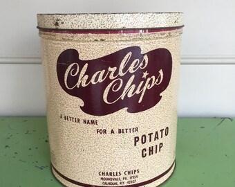 Vintage Charles Chips Potato Chip Tin One Pound Tin Advertising Tin Home Storage Decor Mancave Decor Collectable Tin