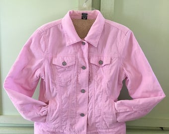 Vintage Pink Corduroy Jean Jacket Sherpa Lined Gap Brand Ladies Size Medium Vintage Clothing Retro Outerwear