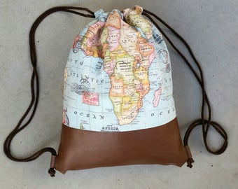Gym bags with maps of the world scene