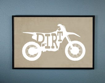 Dirt Motorcycle Art Print. Perfect for a Motorcycle Enthusiast