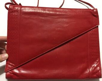 Red Vintage Purse - Red HandBag - Shoulder Bag - Bold - Funky