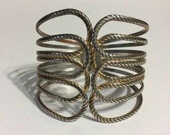 Metallic Bracelet - Cuff Bracelet - Two Tone - Bold Bracelet