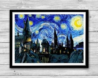 Hogwarts Castle Starry Night Print Van Gogh, Reproduction of Vincent Van Gogh Starry Night, Hogwarts Art Print, Harry Potter print wall art
