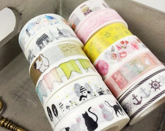 10m Washi tape patterns flowers cat dog house anchor baby city Eiffel Tower glass patterned scrapbooking scrapbook ribbons Planer accessories