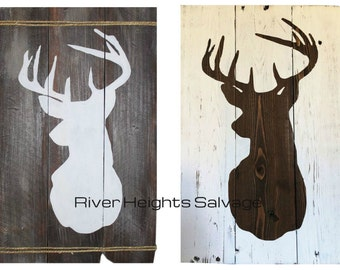 Wood Deer Head Sign Buck Silhouette Pallet Wood Sign Buck Wood Sign Home Decor Rustic Sign Pallet Art Wall Decor Antler Gift Popular