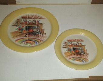 """2 HOMER LAUGHLIN HLC Swing Eggshell Plates ~ 9"""" Dinner Plate + 7.25"""" Bread Plate"""