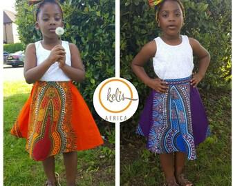 Dashiki Skirt / African Print Girls Skirt  / Toddler Skirt /  Ankara Girls Skirt
