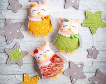 Owl nursery decor Gray garland Woodland animals Curtain decor Baby garland Room decorations Star garland Kids gift Owl baby shower bunting