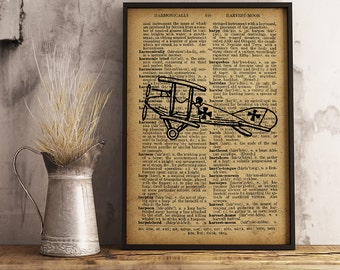 Aircraft poster, Aviation Dictionary Art Print, Aircraft illustration vintage style, Cotton canvas Airplane Print, boy room decor  (A03)