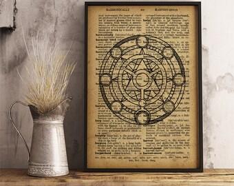 Magic circle print , Occult symbol, Magic Art decor, Esoteric Illustration vintage style dictionary print, Antiqued decoration (AL03)