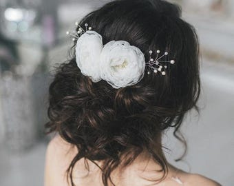 Bridal Hair Comb Pearl Flowers, Wedding Pearl flowers Hair Comb, Hair Accessories, Pearl flower Comb, Bridal Pearl flower Hairpiece